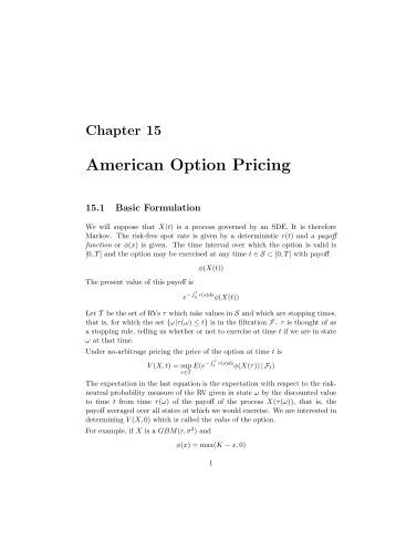 Pricing an american put option pricing