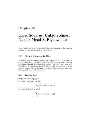 Least Squares, Cubic Splines, Nelder-Mead & Eigenvalues - users ...
