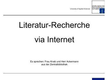 Verfahrenstechnik: Literatursuche via Internet