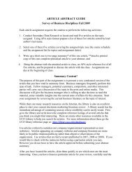 Article Abstract Guidelines - UCO College of Business