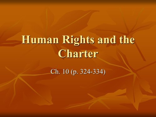 The Constitution and the Charter of Rights and Freedoms