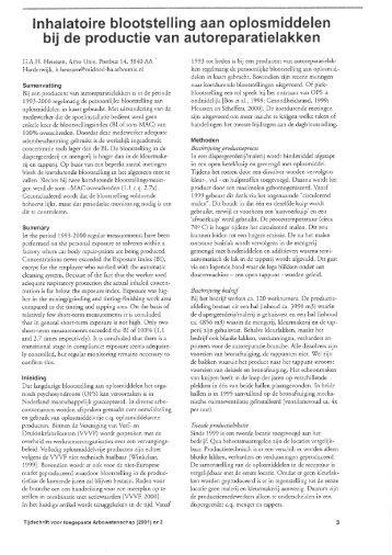 Inhalatoire blootstelling aan oplosmiddelen bij de productie van ...