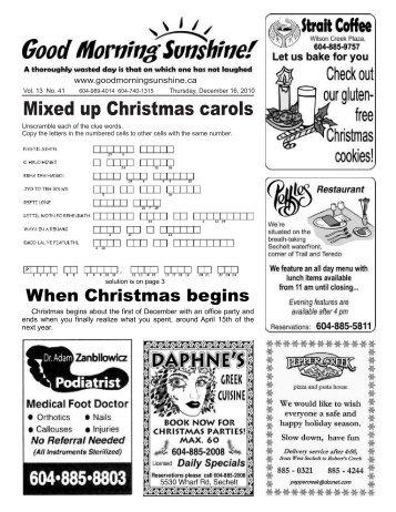 Answers to Mixed up Christmas Carols - Good Morning Sunshine.ca