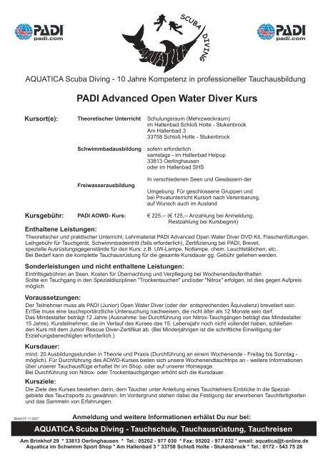 Kursinhalte PADI Open Water Advanced Diver Kurs - AQUATICA