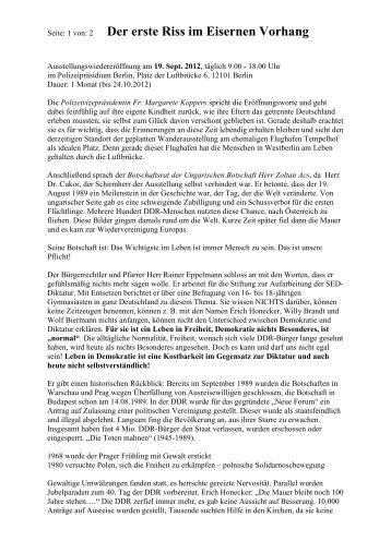 der detaillierte Bericht zur Wanderausstellung am ehemaligen ...