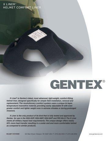 X LINER® HELMET COMFORT LINER - Gentex Corporation
