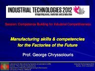 Manufacturing skills and competencies for the Factories of the Future