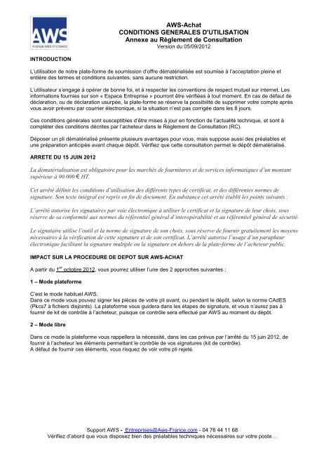 AWS-Achat CONDITIONS GENERALES D'UTILISATION Annexe au ...