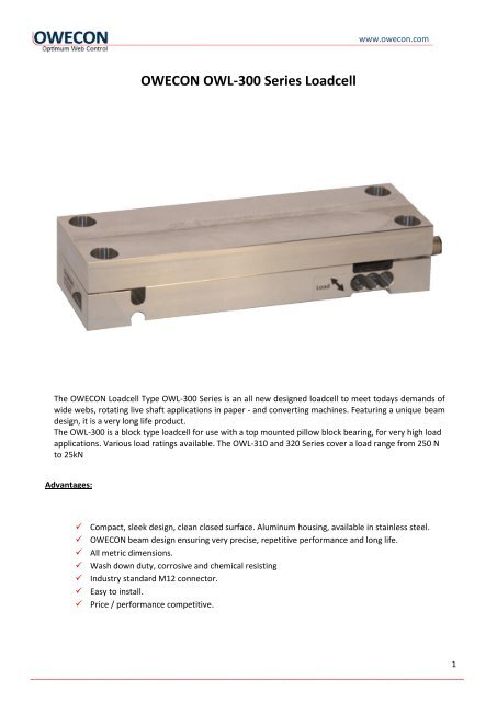 OWECON OWL-300 Series Loadcell - Owecon.com