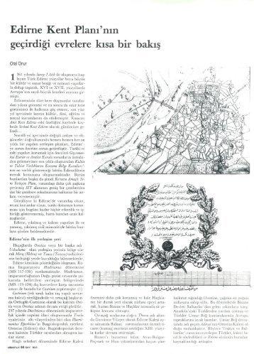 Edirne Kent Planı'nm geçirdiği evrelere kısa bir bakış