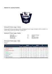 Bulletin 19 - Issued 21/12/2012 - Premier League