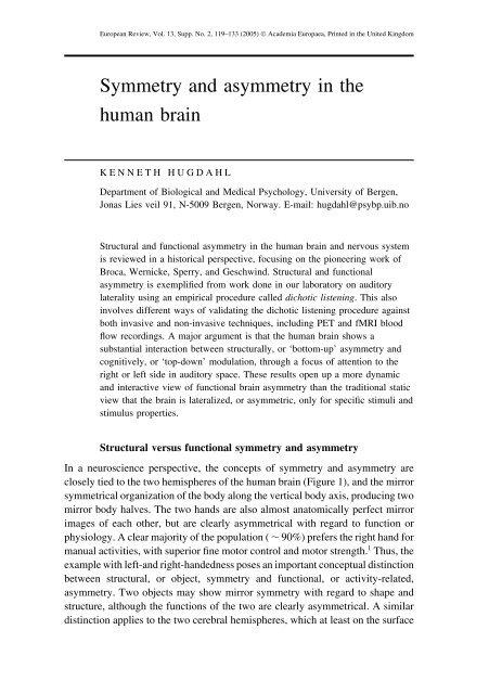 Symmetry and asymmetry in the human brain - Academia Europaea
