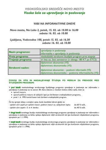 Visoka šola za upravljanje in poslovanje Novo mesto - Visokošolsko ...