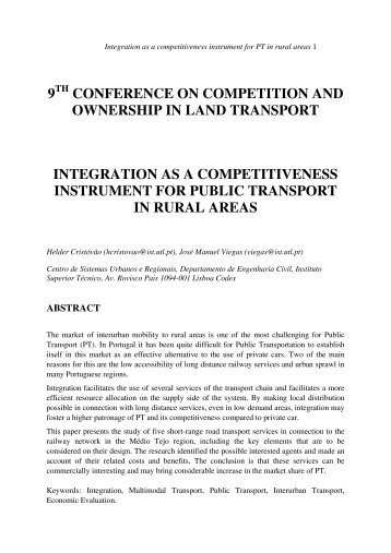 Integration as a Competitiveness Instrument for Public Transport in ...
