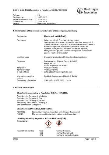 : Mamyzin®, solid (Bulk) - Material Safety Datasheets - Boehringer ...
