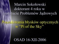 Marcin Sokołowski doktorant 4 roku w Instytucie ... - Pi of the Sky