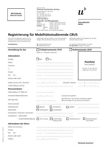 CRUS Formular