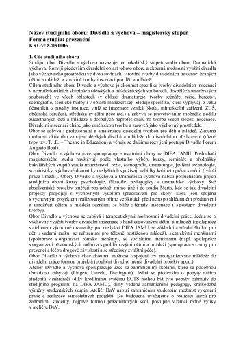 magisterský stupeň - DIFA JAMU v Brně