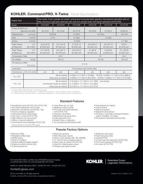 Kohler Command PRO V-Twins - Kohler Engines