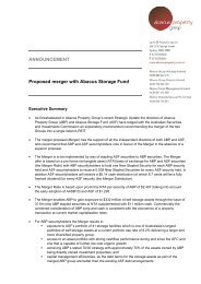 ANNOUNCEMENT Proposed merger with Abacus Storage Fund