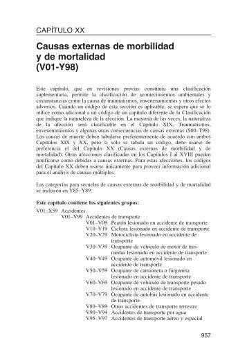 XX Causas externas de morbilidad y de mortalidad (V01-Y98)
