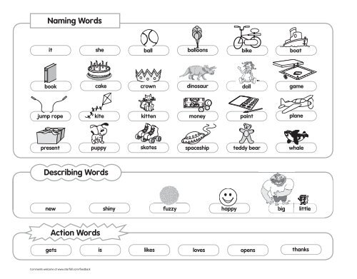 Action Words Naming Words Describing Words