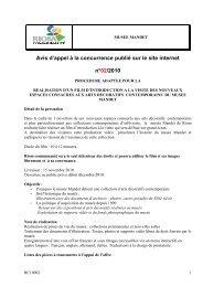 Avis d'appel à la concurrence publié sur le site internet n°02/2010