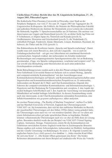 Cäcilia Klaus (Vechta): Bericht über das 38. Linguistische ...