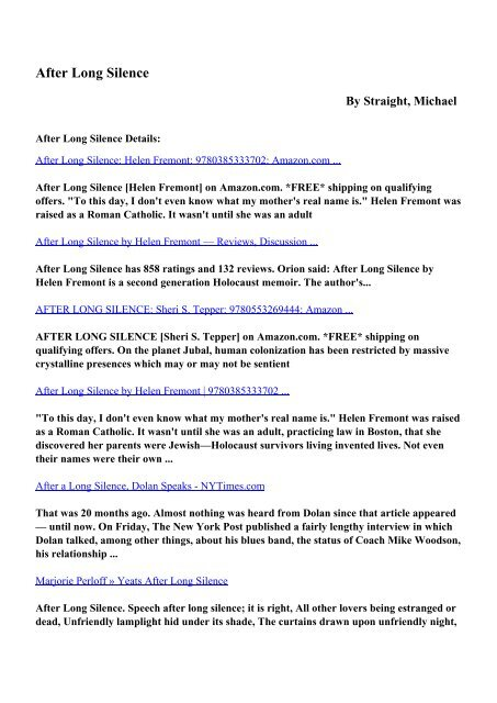 Download After Long Silence pdf ebooks by Straight, Michael