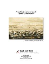 A brief historical overview of Klamath County, Oregon Klamath ...
