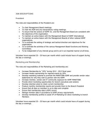 JOB DESCRIPTIONS President The Roles And Responsibilities Of The .