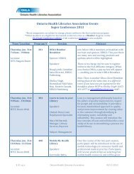 Printable Guide to OHLA Sessions and Events - Ontario Health ...