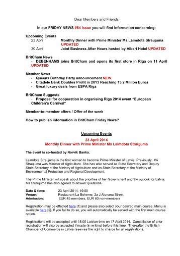 Britcham Newsletter No 64 11 April 2014