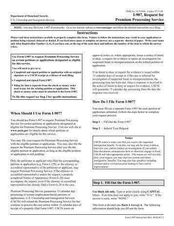 Instructions for I-907, Request for Premium Processing ... - ILW.com