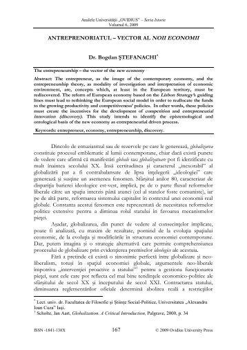 VECTOR AL NOII ECONOMII Dr. Bogdan ŞTEFANACHI ... - AUOCSI