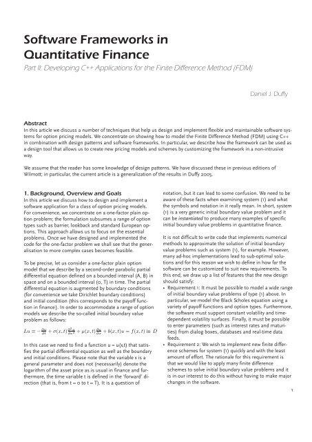 Software Frameworks In Quantitative Finance Datasim Financial