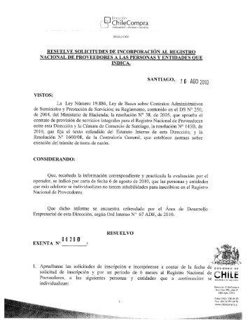 Resolución Proveedores Inscritos Julio 2010 - Chileproveedores
