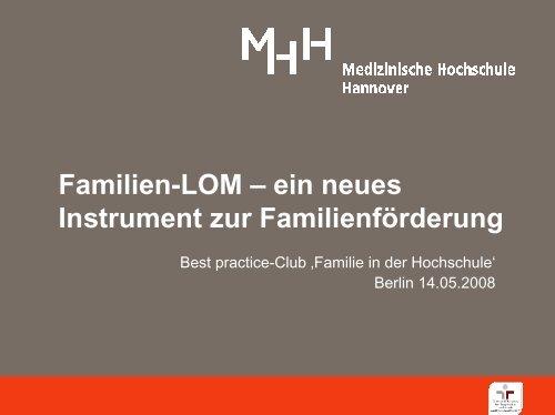 Anreize für Abteilungen schaffen Neues Instrument: Familien-LOM