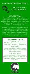 GRIDIRON CLUB - Cannon School