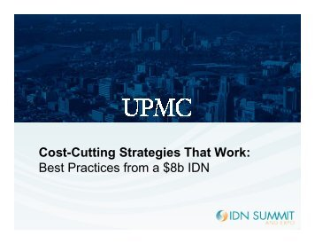 Cost-Cutting Strategies That Work - IDN Summit and Expo