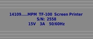 14109.....MPM TF-100 Screen Printer S/N: 2558 ... - Karen Madison
