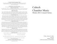 Caltech Chamber Music - Caltech Performing and Visual Arts