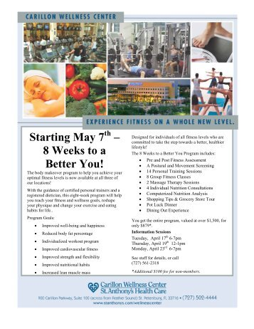 Starting May 7 – 8 Weeks to a Better You!