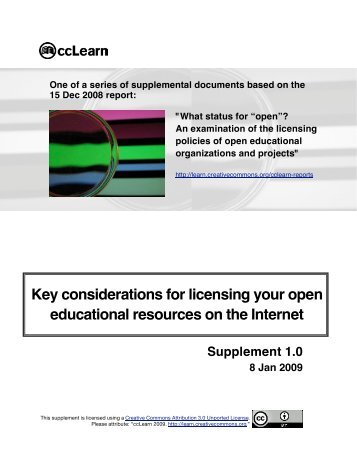 Key considerations for licensing your open educational resources ...