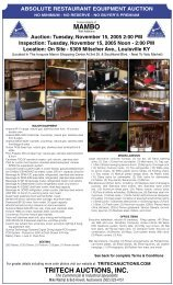 Absolute restaurant equipment auction - Tritech Auctions, Inc.