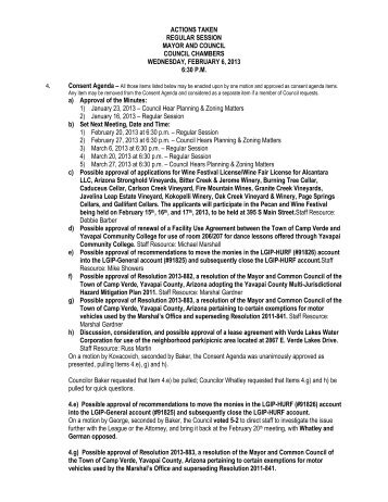 ACTIONS TAKEN REGULAR SESSION MAYOR AND ... - Camp Verde