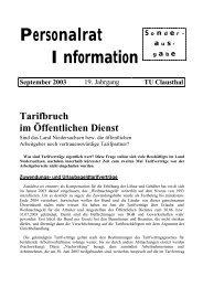 Personalrat Information September 2003