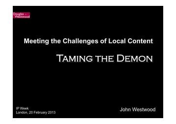 Meeting the Challenges of Local Content - Douglas-Westwood