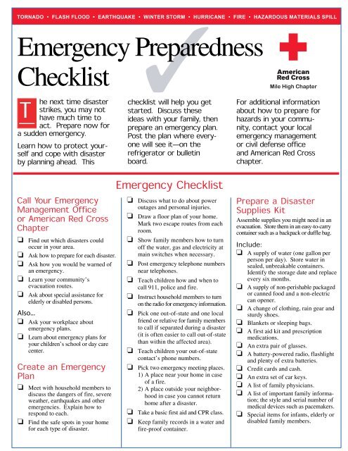 Emergency Preparedness Checklist Red Cross