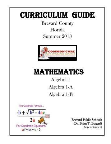 Curriculum guide - Secondary Programs - Brevard Public Schools